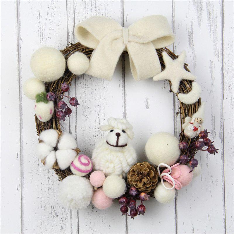 25 centímetros Handmade Wool Felt Moon Star Wreath Christmas Felt Garland DIY Kit for Wedding Party grinalda porta da frente da sala dos miúdos Decoração