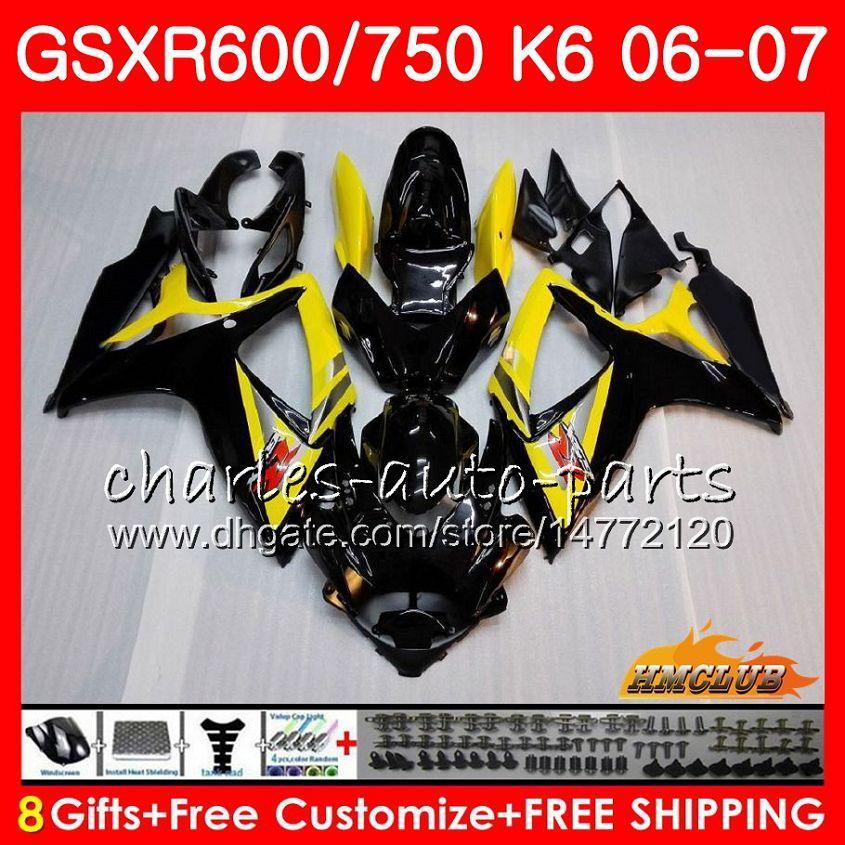 Body Yellow Black für Suzuki GSX R600 GSX-R750 GSXR-600 GSXR600 06-07 8HC.12 GSX R750 GSXR 600 750 06 07 K6 GSXR750 2006 2007 Verkleidungsset