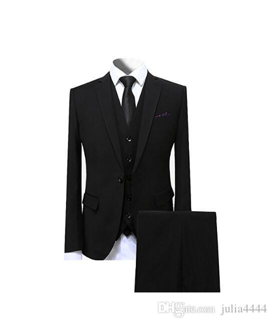 Moda Custom Made Smoking Ocidental Slim Fit Pico Lapela Preto Terno Do Noivo Do Casamento Terno Para Os Homens / Terno de Baile de 3 Peças (Jacket + Pants + Vest + Tie)