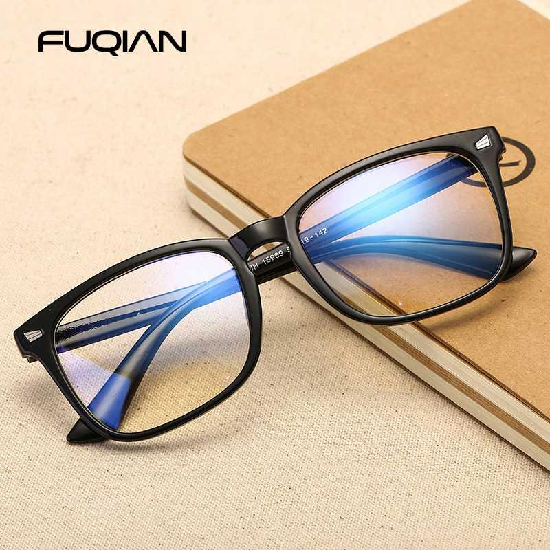 Fuqian Fashion Frame Lunettes Vintage Femmes Hommes Lunettes Place Computer Anti Blue Ray Lunettes Gaming Lunettes