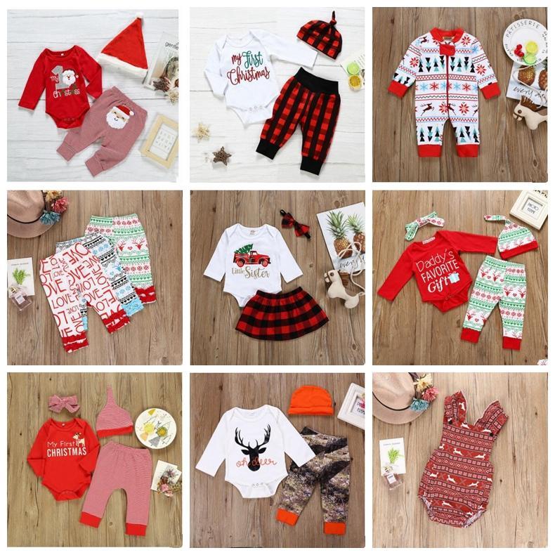 Roupa Crianças Conjuntos de Natal do bebê do algodão macacãozinho crianças manga comprida Bodysuits Meninas Lattice Top Pants ternos saia Cap Banda Cabelo ZYQ95