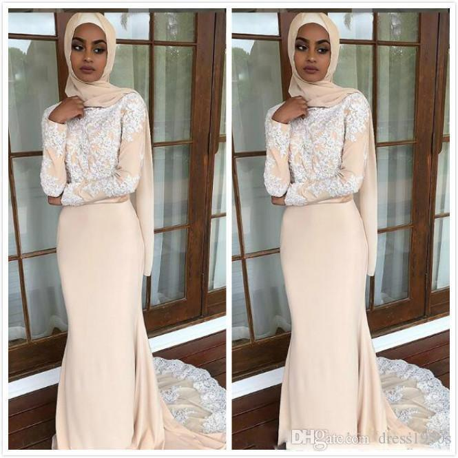 Apliques de encaje de champán Vestidos musulmanes Mangas largas Vestidos de noche de sirena de gasa Vestidos de fiesta de disfraces sexy y baratos