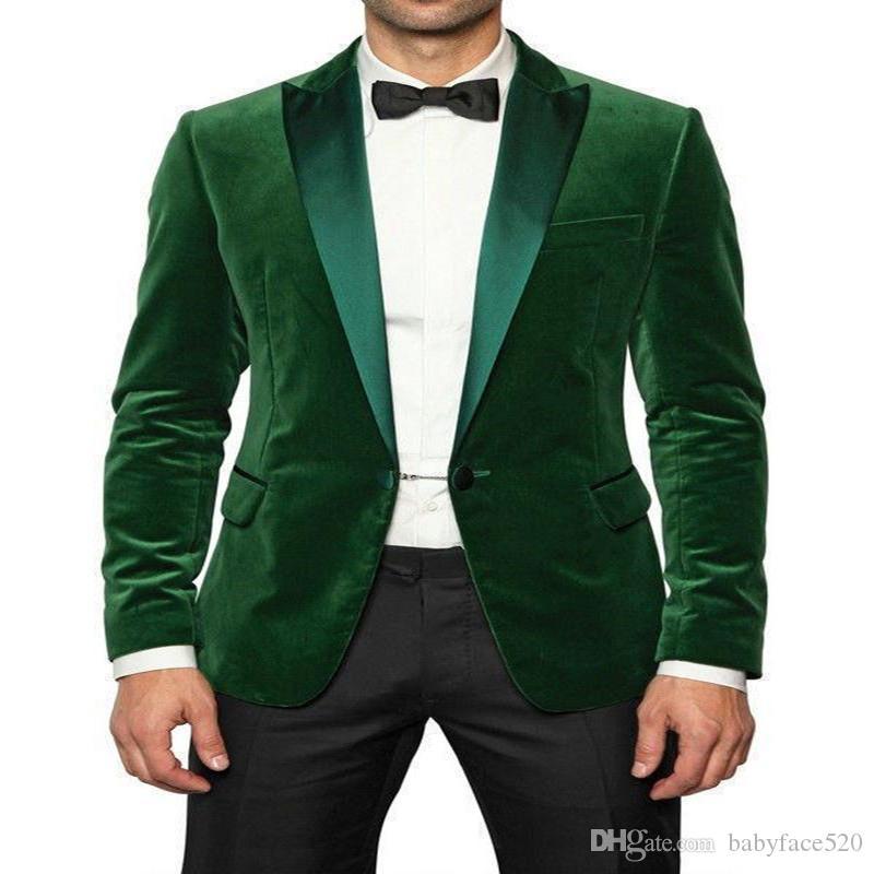 Zweiteilige Green Velvet Business Men Anzüge Einreiher spitzen Revers nach Maß Hochzeits-Bräutigam-Smoking Blazer mit einem Knopf