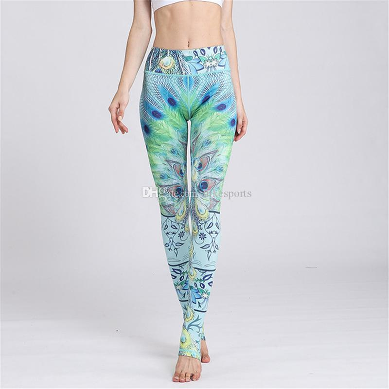 Fashion Print Foot Pants Womens Elastic Tight Sports Yoga Stirrup Pants Running Riding Fitness Dance Skinny Pants Exercise Workout Leggings