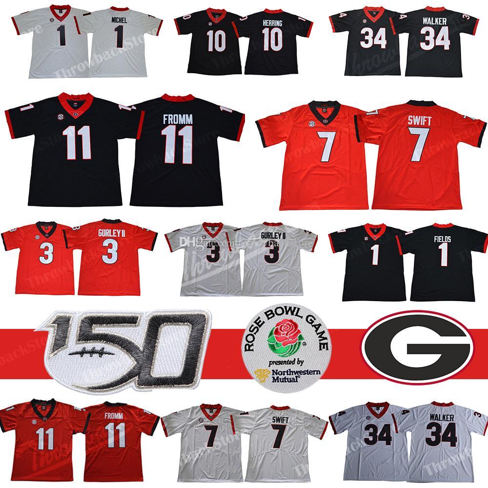 NCAA Georgia Bulldogs 11 Jake Fromm 7 Dandre Swift 3 Todd Gurley II Justin Fields Walker UGA Rose Bowl Zucker 150th 2019 Fußballtrikots