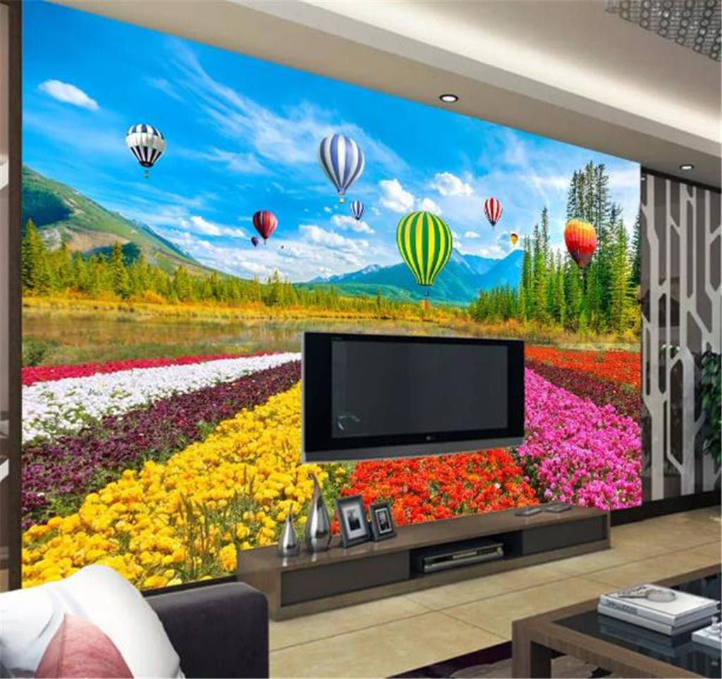 Custom Wallpaper 3d Beautiful Flower Sea Tulip Hot Air Balloon Living Room Bedroom Background Wall Wallpaper