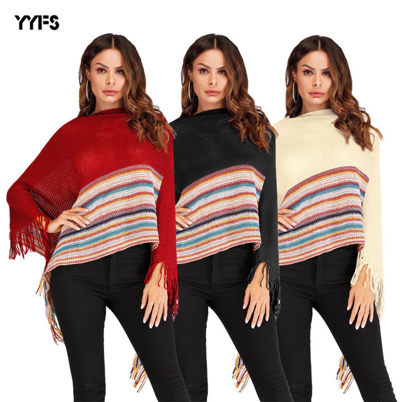 para mujer diseñador de flecos suéter de cuello alto del mantón del cabo coincidencia de colores irregulares sweaterH
