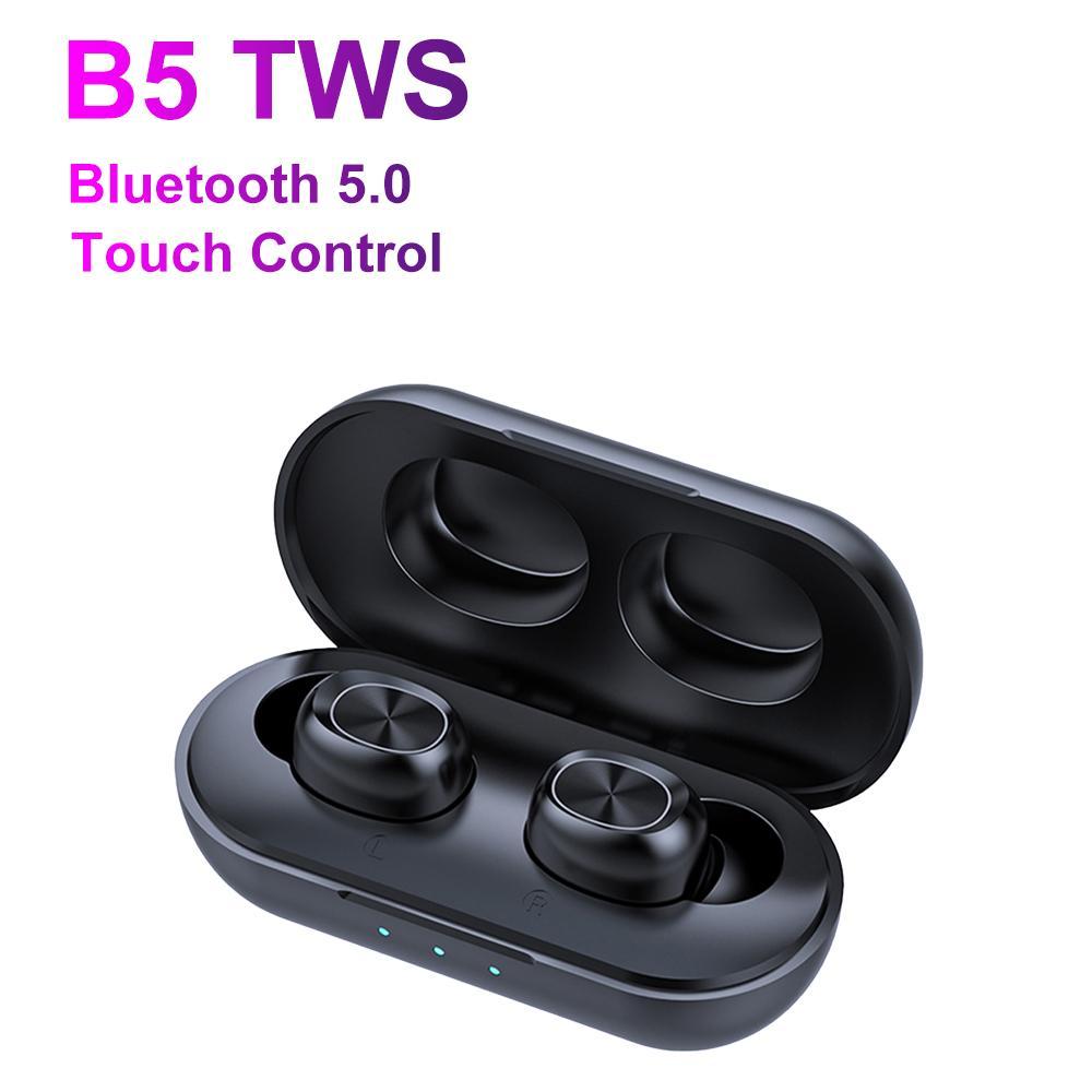 B5 TWS 5.0 بلوتوث ستيريو لاسلكي مراقبة سماعة اللمس باس سماعات الأذن للماء السماعة الموسيقية لتشغيل مع الشحن مربع