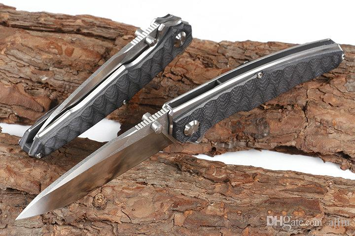 Новый сильный Flipper Складной нож 9Cr18Mov сатин лезвия Черный G10 + нержавеющая сталь лист Ручка с шарикоподшипником Fast Open Ножи