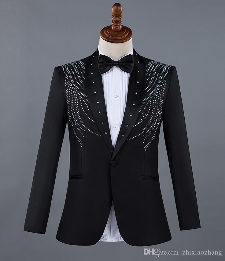 personality Collar diamonds Blazer men suit set with pants mens wedding suit costume singer stage clothing traje de novio hombre