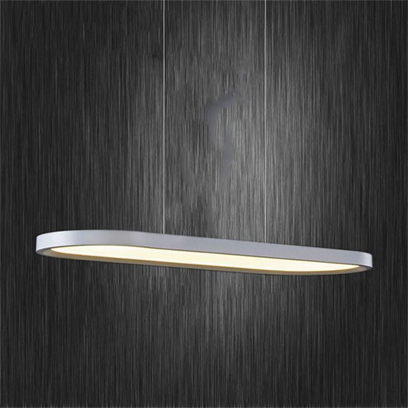 Simple Suspension aluminium acrylique ovale moderne Led lampes suspendues pour le bureau Salle de réunion Salle à manger