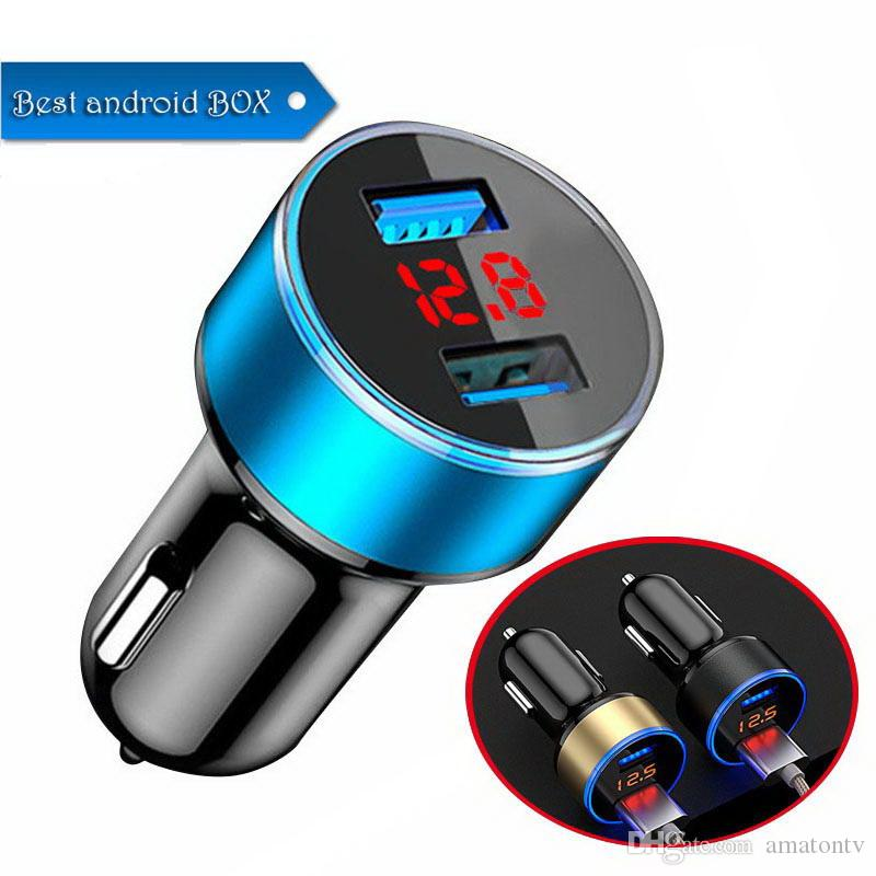 LED Car Charger 5V/3.1A Quick Charge Dual USB Port Cigarette Lighter Adapter Voltage Car Charger for LED Display DHL Free Shipping
