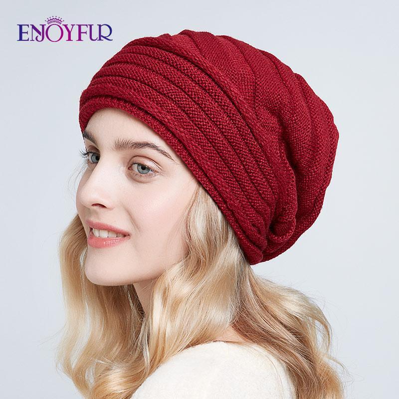 Fashion-ENJOYFUR Women winter knit hats casual slouchy beanies soft oversized warm lg lady caps 2019 new fashion