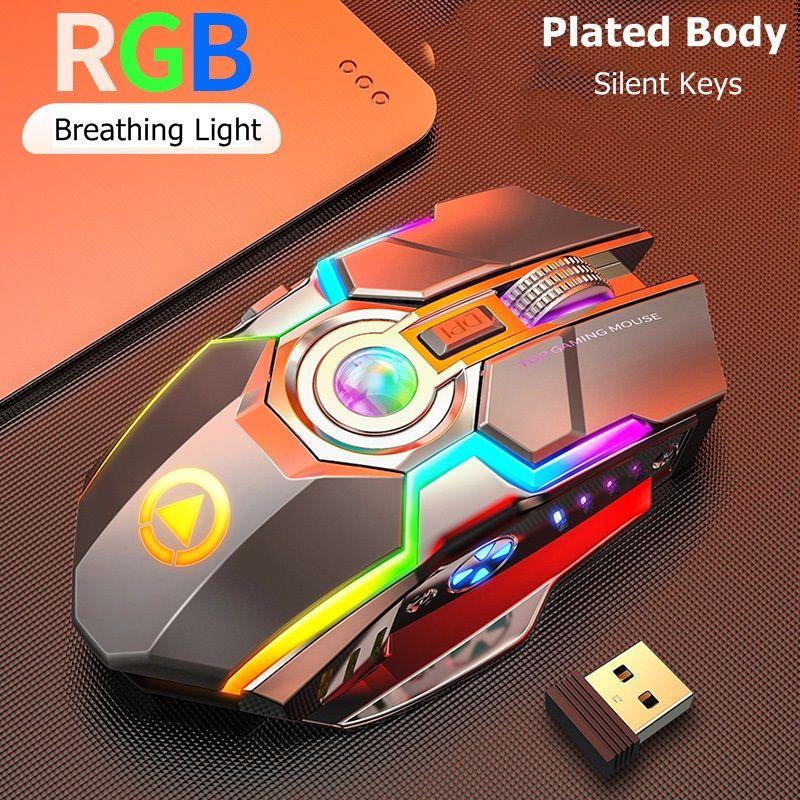 Recargable USB inalámbrico de 2,4 GHz Esports RGB retroiluminado ratón para juegos Notebook Desktop Mouse Button espera largo USB Slient ratones iluminación RGB A5
