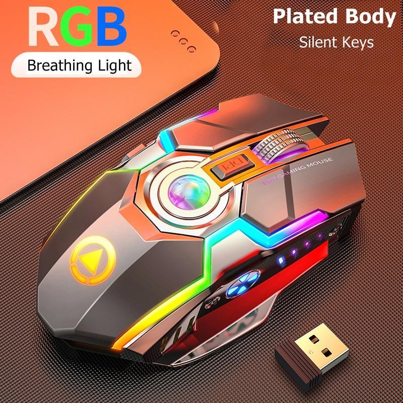Recargable USB RGB Mouse inalámbrico 2.4GHz Esports ESPortones Retroiluminado Mouse Neuse Notebook Museos 7 Botones 3 Engranajes Largo STANDBY LIGHTING SBIENTE MICE A5 RGB Luminoso