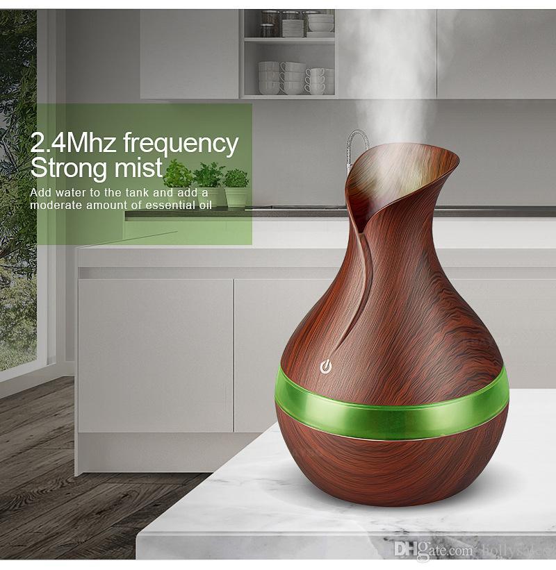 300ml USB Aroma umidificador de ar ultra grão de madeira com RGB 7colors luz Essential Oil Difusor Eléctrico Maker Mist LED para escritório Home