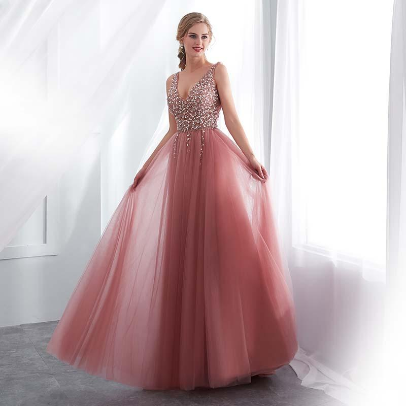 Rebordear vestidos de baile 2019 V-cuello rosa de tul de alta Dividir tren de barrido sin mangas Vestido de noche una línea ata para arriba sin espalda Vestido De