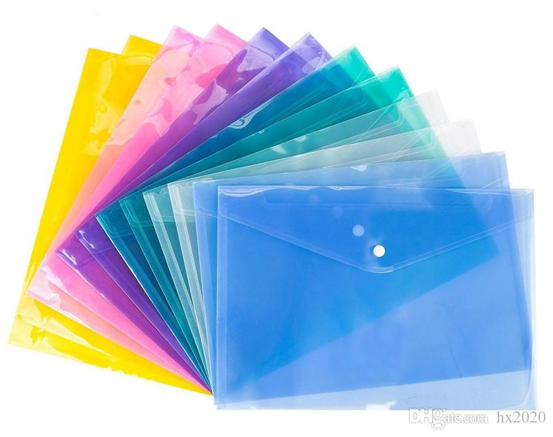 4 en color A4 de archivo de documento de papel Bolsas con botón a presión transparentes Sobres de presentación archivo de carpetas de plástico 18C ST130