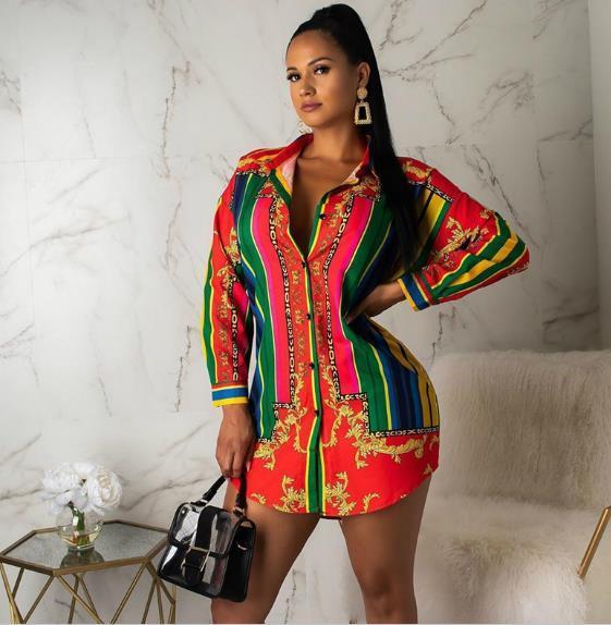 Femmes Designer rayé Chemises d'impression Casual Lapel manches longues Chemises Cardigan Blouses Femme Vêtements arc