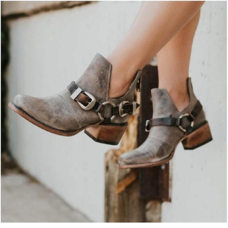 Kadınlar Vintage Pu Deri Toka Kayış Platformu Martin Boots Plus Size 42 için Sıcak satış-Botaş Mujer Orta Topuklar Bilek Boots