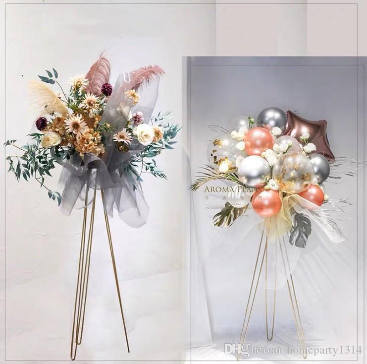 corredor do casamento backdrops peças centrais cremalheira lead estrada loja Loja de abertura flor cesta de arte do ferro vaso de flor tripé de ouro posto de flor de metal