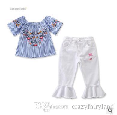 Kids Designer Clothes Girls Embroidery Set 2019 Summer Baby Girls Blue Striped Off Shoulder Embroidered T-shirt Blouse Tops+Capri Pants Set