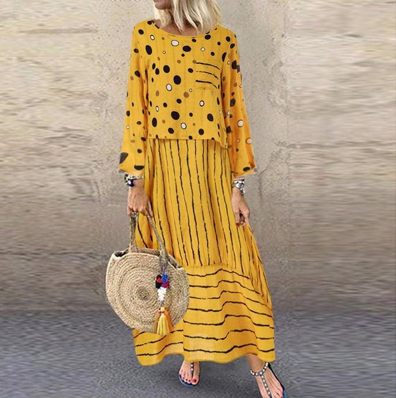 Echoine женщины длинные макси платья горошек большие свободные поддельные двухсекционный хлопок Льняное платье осень плюс размер сарафан женская ткань MX200327