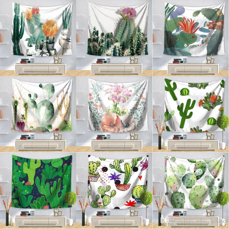 Cactus Wall Hanging Tapestry Polyester Fabric Tapestry Cactus Printing Tablecloth Bed Sheet Beach Towel Home Decoration