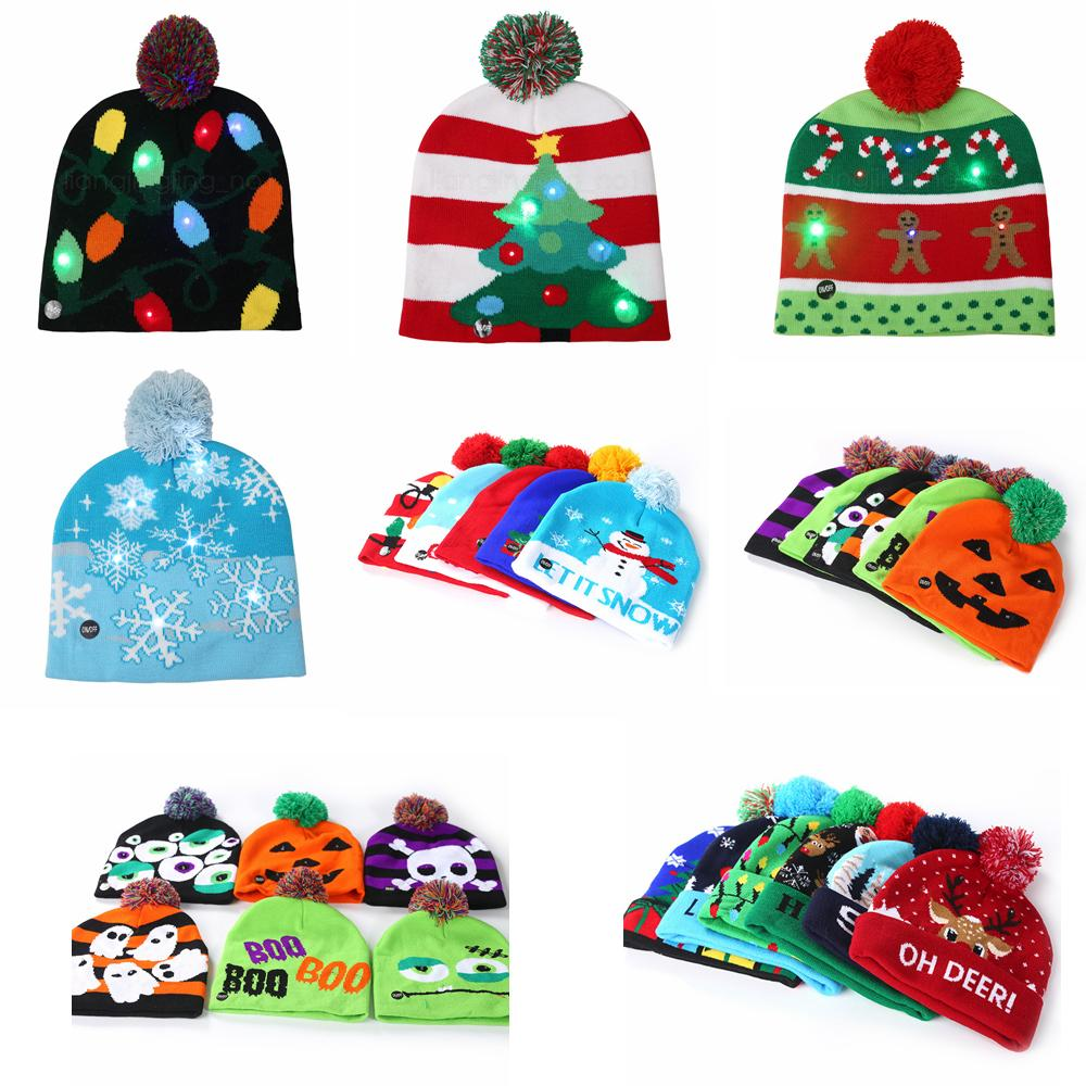22 styles Led Halloween Christmas Knitted Hats Kids Baby Winter Warmer Beanies Crochet Caps Pumpkin cartoon party decor gift props