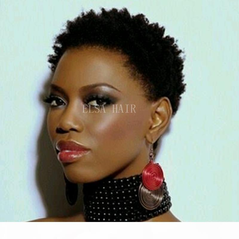 Kısa İnsan Saç Peruk Kısa Afro Kinky Kıvırcık Pixie kesim moda siyah kadınlar için Brezilyalı Haman saç kısa peruk insan saçı peruk peruk