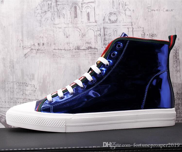 Estilo britânico desenhador Men High Top Moda Preto Blue Bee Flats Botas Sapatos Homem vulcanizada externas casamento Shoes