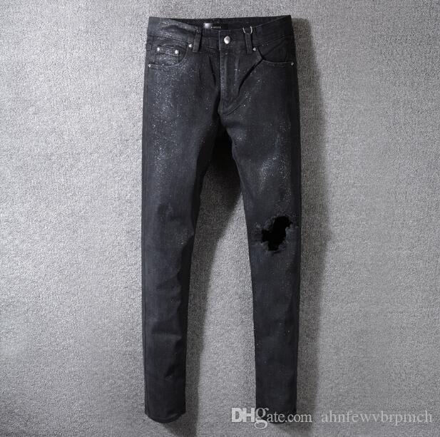 2019 neue amiri beschichtete Loch schlanke Selbstkultivierung wilde dünne dünne dünne Hosen Männer schwarze Jeans Hose 28-40