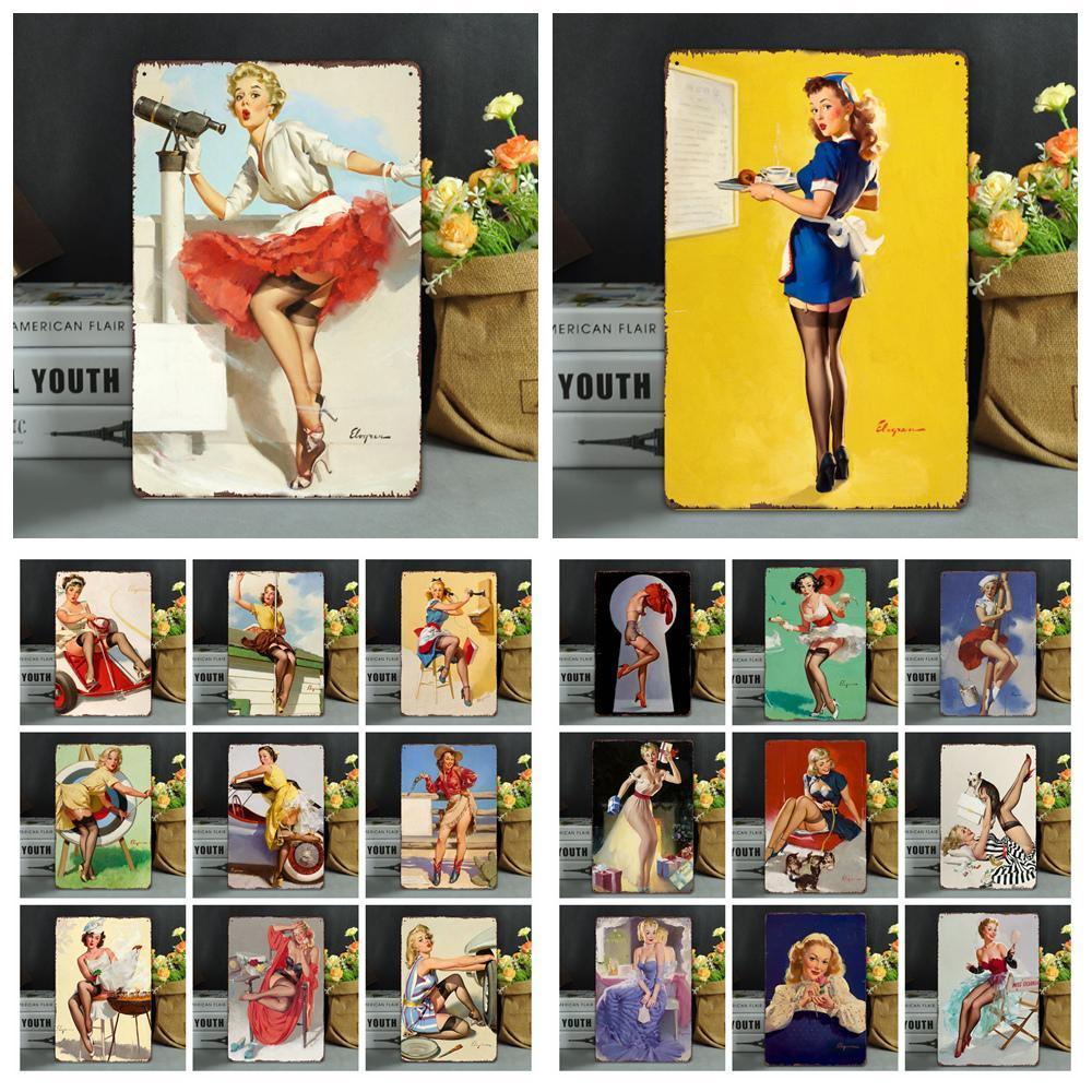 20 * 30CM خمر معدنية تسجيل المشارك الحديثة بنات جنسي ملصقات اللوحة سور نادى الرئيسية فن المعادن طلاء جدار ديكور FFA972 100PCS