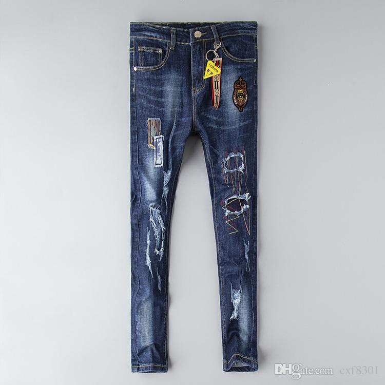 Calças de brim FF designer mens afligido rasgado calças justas roupas de luxo magro motocicleta moto motociclista hip hop denim bordado homem calças olho