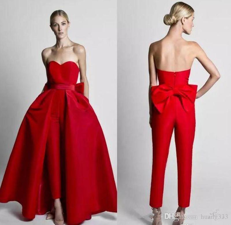 2020 Bridal Party New Modest Red Macacões Wdding Vestidos Com destacável Skirt Strapless vestido de noiva calças para mulheres Custom Made 72