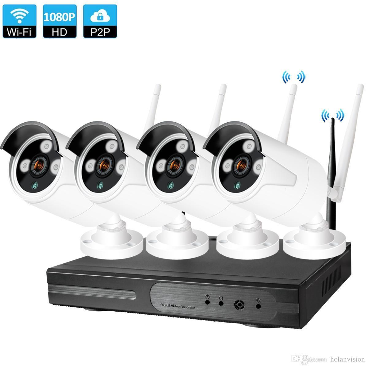 Система CCTV Беспроводная камера 1080P NVR 4 шт. 2.0MP IR Открытый набор P2P WiFi IP Security Kit
