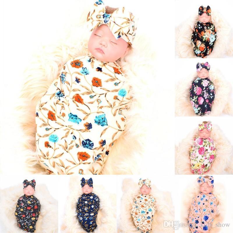 Enfants Designer Vêtements Filles Garçons Recevant Couverture Bandeau Ensemble Rose Fleur Imprimer Bébé Swaddle Floral Blankets 7 Styles