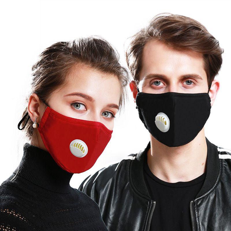 20шт хлопок маска для лица активированный уголь маски Adjusable многоразовые PM2. 5 защитные 5 слоев фильтры моющиеся 11 цветов