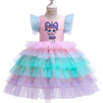 Toddler Kids Girls Cartoon Clothes Cotton Party Pageant T-Shirt Summer Dress
