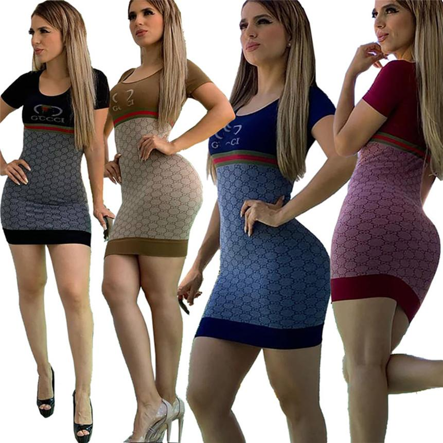 Women letter print dress casual short sleeve mini skirts crew neck sexy dresses fashion clubwear summer clothing skinny dress free 3159