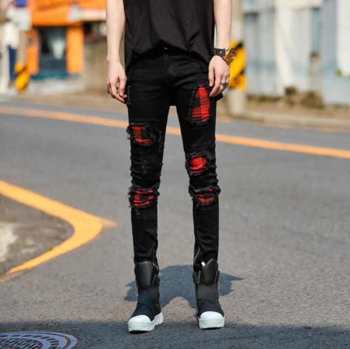 2019 New Men Hole Plaid Splice Black Jeans Male Fashion Casual Hip Hop Punk Gothic Style Denim Pant Trousers
