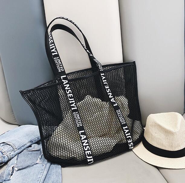 Designer Sac à main femme luxe creux-out Summerc Mesh Femme Sac seule épaule Sac Oversize plage Sac Voile