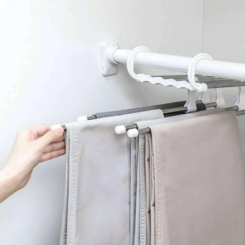 5 في 1 الفولاذ المقاوم للصدأ متعددة الوظائف المحمولة سروال طوي شماعات الملابس رفوف بنطلون شماعات الملابس تخزين التجفيف شماعات