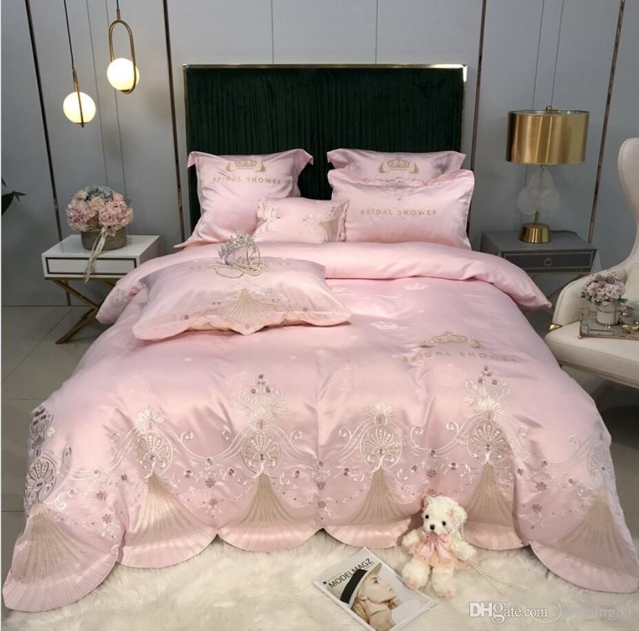 Oriental Bordado Home Textile Silky conjuntos de cama de luxo Jacquard Bedclothes folha de Lençois de cetim rosa capa de edredão set Rei Queen Size