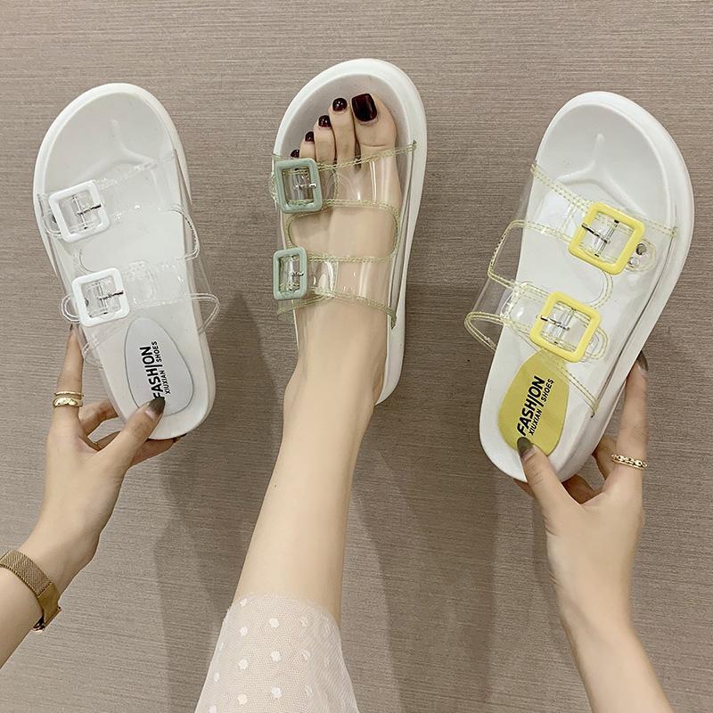 Shoes Woman 2020 House Slippers Platform Transparent Heel Med Slides Slipers Women Flat New Summer Fashion