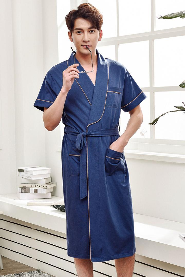 new arrive new appearance best loved 2019 Men Bathrobe Kimono Dressing Gown Cotton Sleep And Lounge Plus Size  Bath Robe Home Sleepwear Summer Short Sleeve Nightwear From Beatricl, $72.8    ...