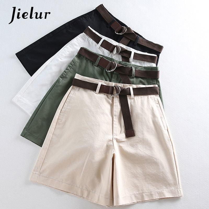 Jielur All-Match 4 Couleur Unie Ceintures Décontractées Shorts Femmes A-ligne Taille Haute Shorts D'été Slim Feminino Chic S-xxl Dames Bas