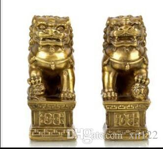 Free Shipping>Chinese Foo Dog Lion Fu Bronze Statue Pair Figurines Feng Shui Items Oriental sz:10*5.5*3.5cm