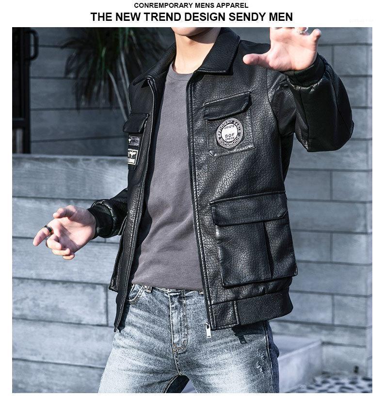 Estilo de diseño de moda de la solapa del cuello de manga larga Hombre Ropa para hombre otoño de la PU de las chaquetas