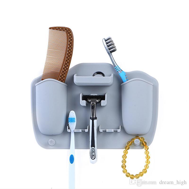Silikon Diş Fırçası Tutucu Duvar Vantuz Diş Macunu ve Tıraş Organizatör Emme Kanca Depolama Raf Banyo Aksesuarları 5 Renkler